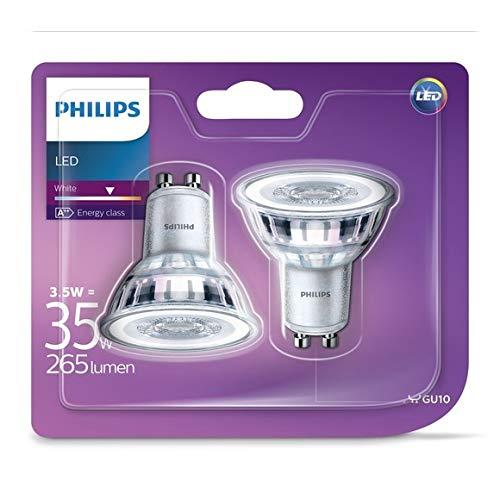 Philips - Bombilla LED Foco GU10 Cristal, 3.5 W Equivalentes a 35 W, Luz Blanca Neutra, No Regulable - (Pack de 6 unidades)