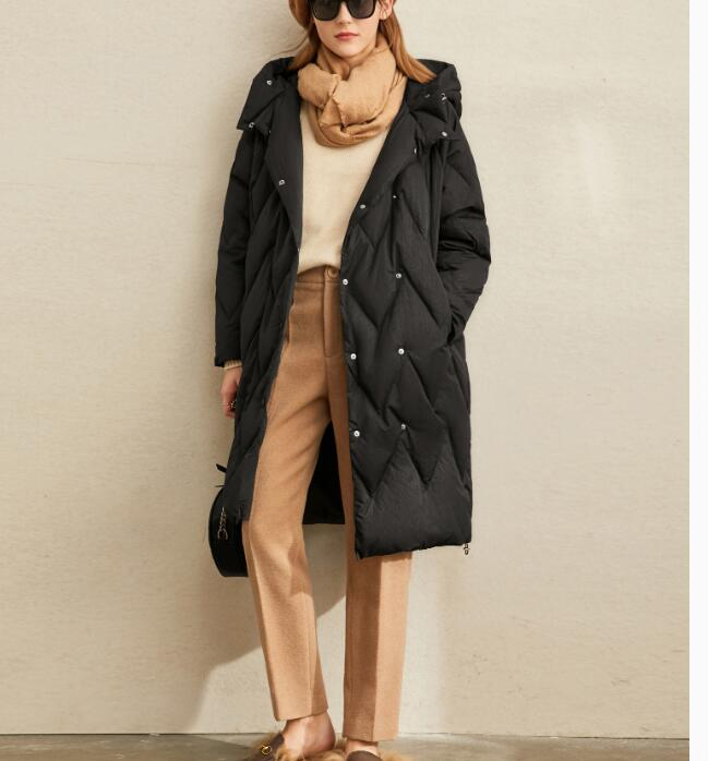 Mid-Length Loose Down Coat Women Hooded Winter Duck Down Jacket Custom Made Any Size