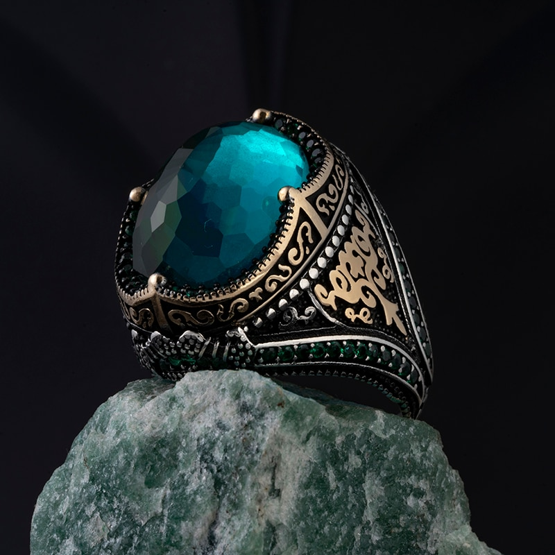 Real 925 Sterling Silver Zircon Stone ring Jewelry Made in Turkey in a luxurious way for Rings Men Women with gift Blue Red