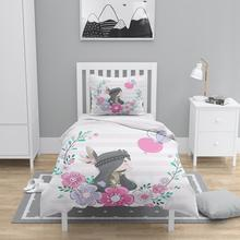 다른 4 pcs 작은 boho 소녀 핑크 하트 꽃 3d 인쇄 코 튼 새틴 chidren 키즈 duvet 커버 침구 세트 베개 케이스 침대 시트