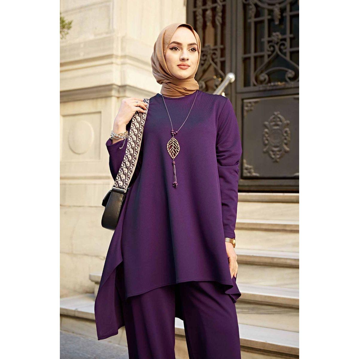 Комплект мусульманский женский с ожерельем, комплект из 2 предметов, кафтан и брюки большого размера, платье-хиджаб
