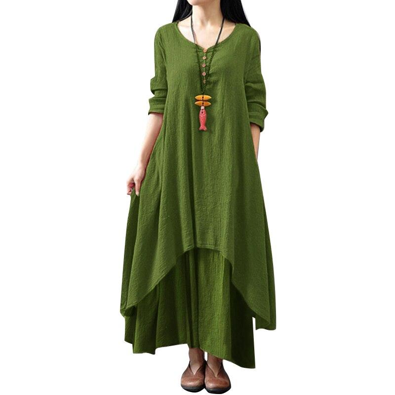 Women Vintage Maxi Dress Women Pure Color V-Neck Long Sleeve Irregular Hem Boho Dress Casual Long Loose Plus Size Dress Autumn