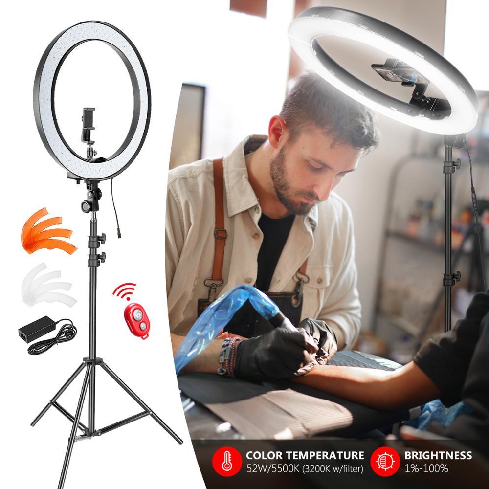 Neewer ulepszona 18-cal zewnętrzna nadaje się do ściemniania SMD LED lampa pierścieniowa z 79-cal stojak, odbiornik Bluetooth, obrotowy uchwyt na telefon dla Sma