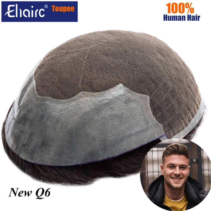 Q6 Lace Toupee Men Lace & PU Wig For Men Replacement System Unit For Men Toupee Male Hair Prosthesis 100% Human Hair Men's Wigs