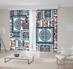 Curtain Mosaic Style Patchwork Quilt Pattern Floral Motives Vintage Decorative Artwork Blue Beige Red
