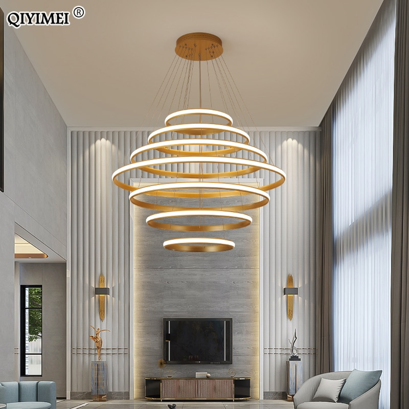 New Modern LED pendant lights living room dining Black White golden coffee Rings aluminum body ceiling mounted indoor lamps de