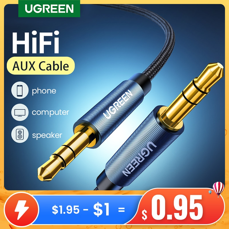 Ugreen Jack 3.5 Audio Cable 3.5mm Speaker Line Aux Cable for iPhone 6 Samsung Galaxy s8 Car Headphon