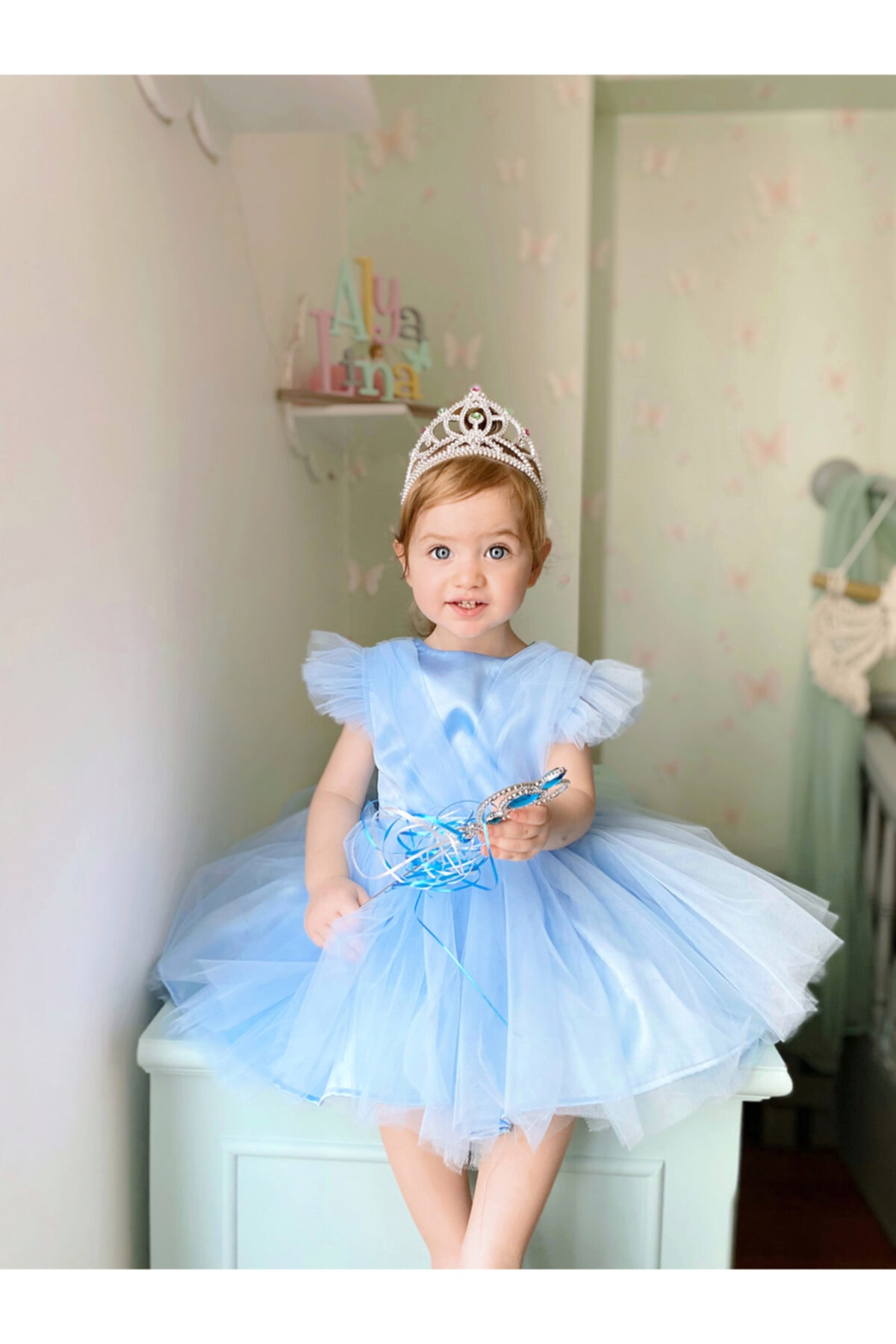 Flaneur Baby Girl Short Sleeve Blue Birthday Dress For Summer 2021 Special Occasion Premium Quality Cotton Lining
