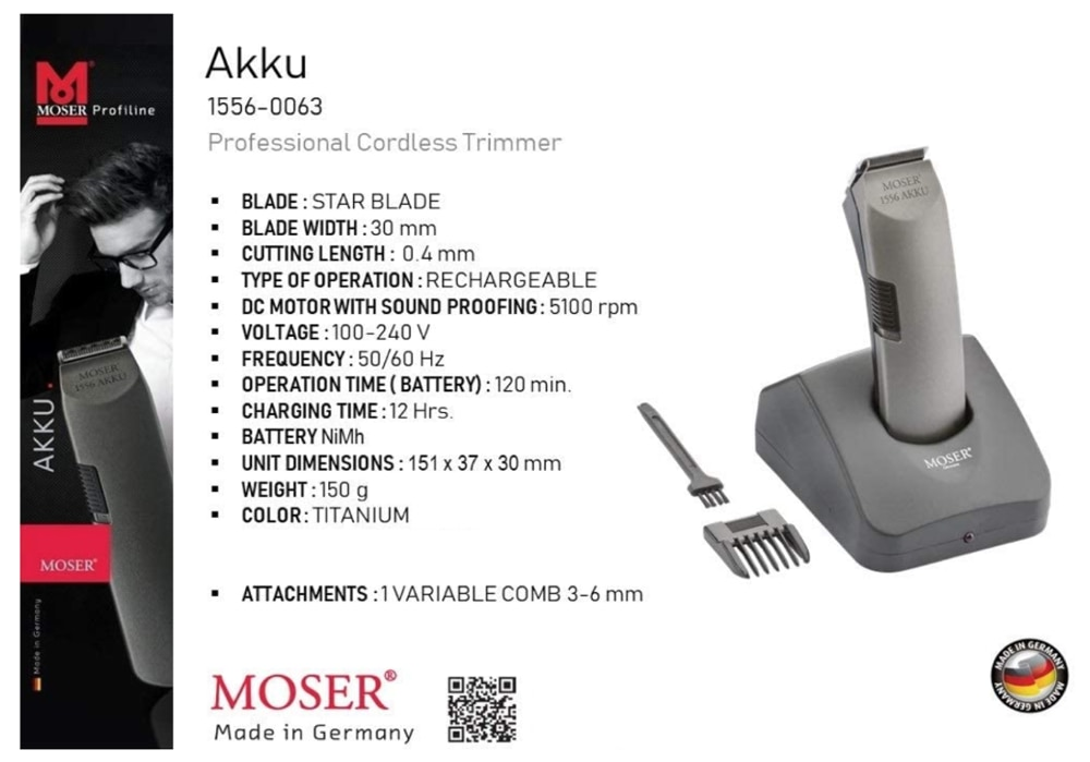 Moser 1556 Akku Professional Cord/Cordless Trimmer Hair Beard Cutting Trimmer, Clipper, Shaver, Hair Styling Machine for Gift enlarge