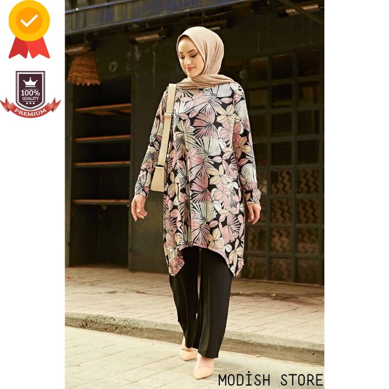 طاقم-Nec غير متماثلة Flowerd امرأة مسلمة مجموعة | تونك السراويل | رمضان دبي عباية تركيا ملابس مسلمة الحجاب الإسلام دعوى
