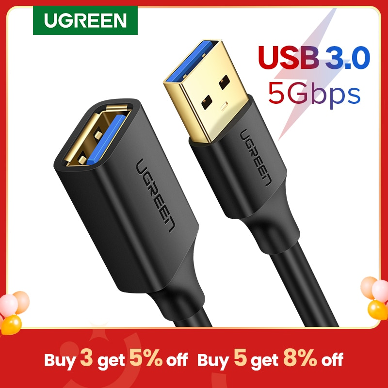 Ugreen USB Extension Cable USB 3.0 Cable for Smart-TV PS4 Xbox One SSD USB 3.0 2.0 USB Extender Cord Mini USB Extension Cable