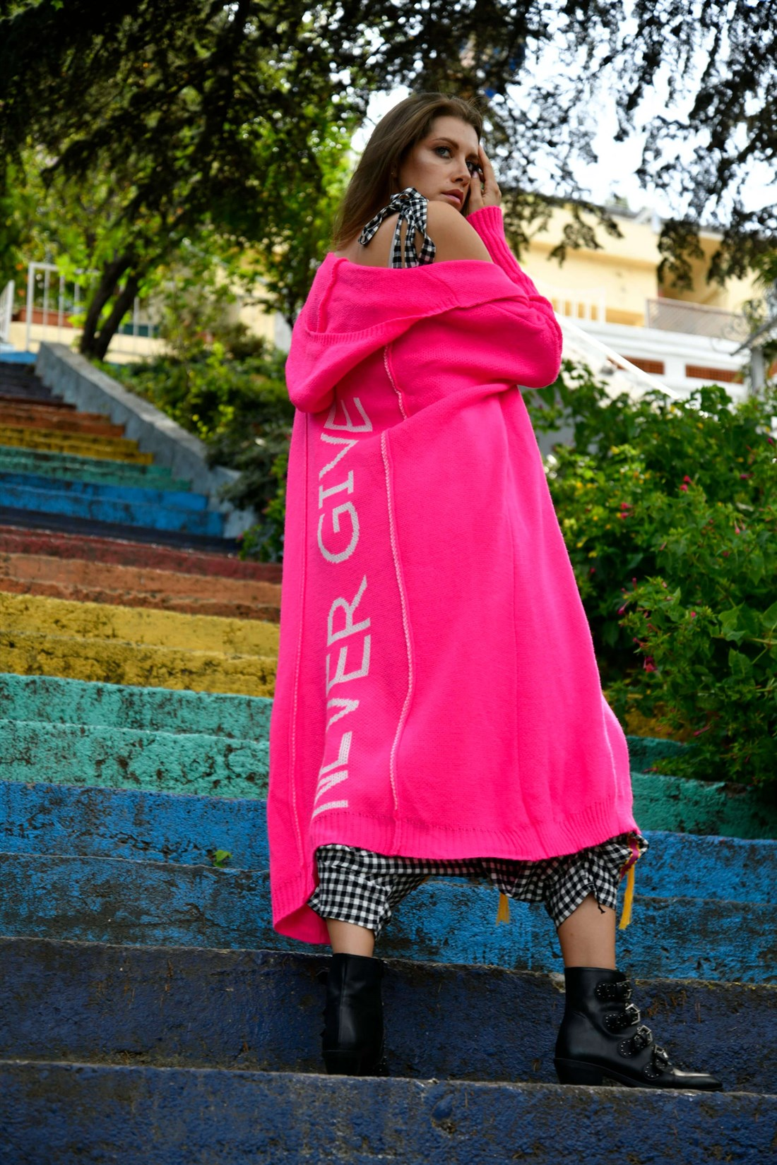 Never Give Up Long Neon Colors Colored Hooded Winter Cardigan 2021 New Fashion High Street Style Women's Clothing enlarge