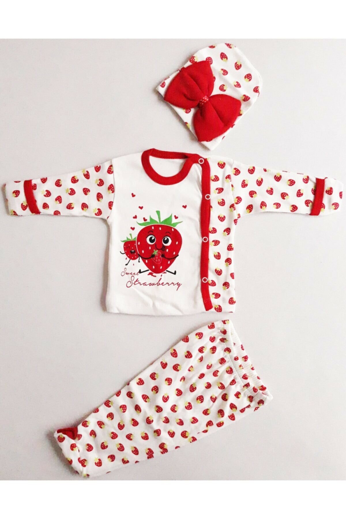 2017 new summer baby clothing set cotton cute pattern vest Strawberry Pattern White Red Infant New Born Baby Girl Set of 3 Outfit 100% Natural Cotton 4 Seasons Cute Confortable soft Clothing