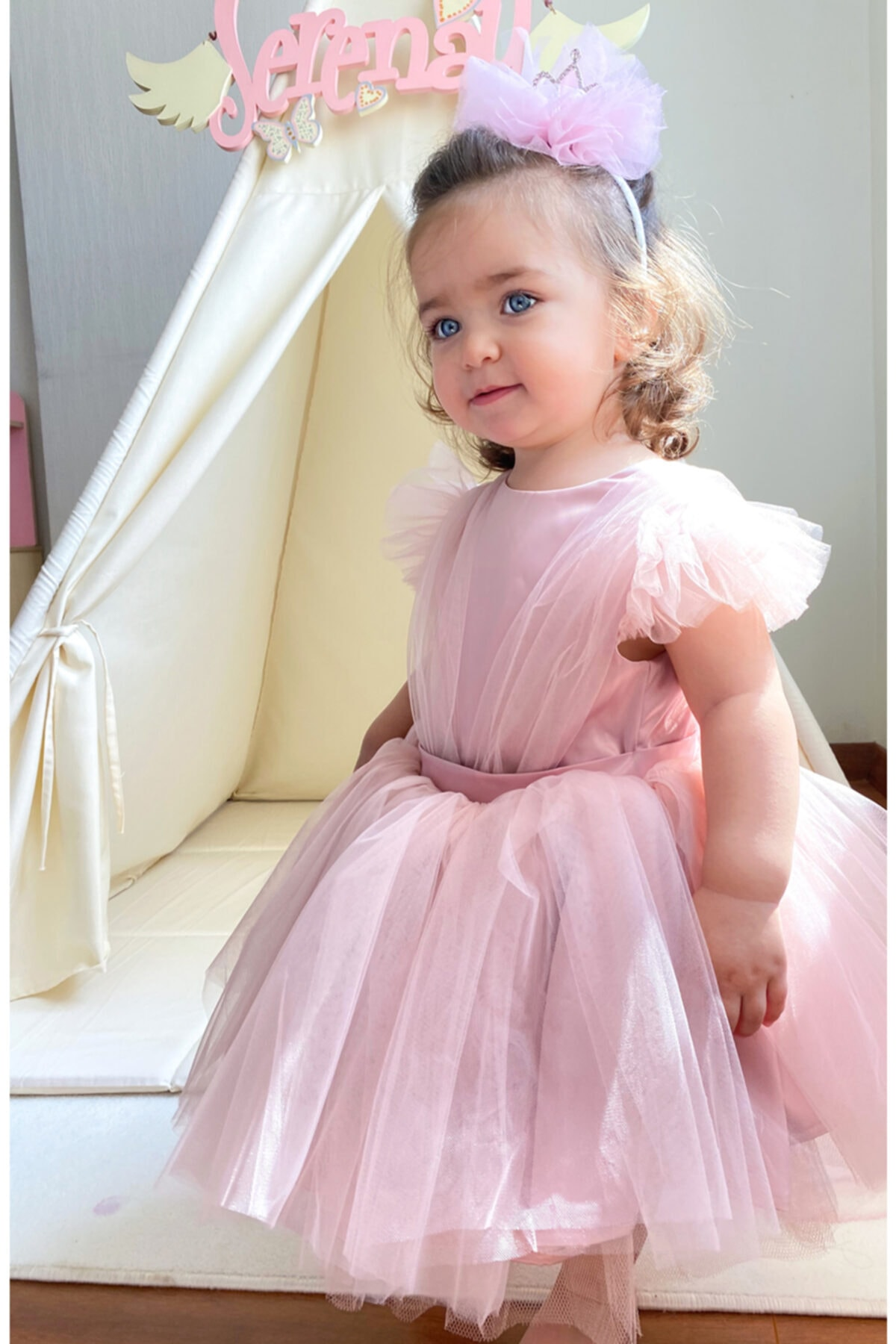 Flaneur Baby Girl Short Sleeve Pink Birthday Dress For Summer 2021 Special Occasion Premium Quality Cotton Lining