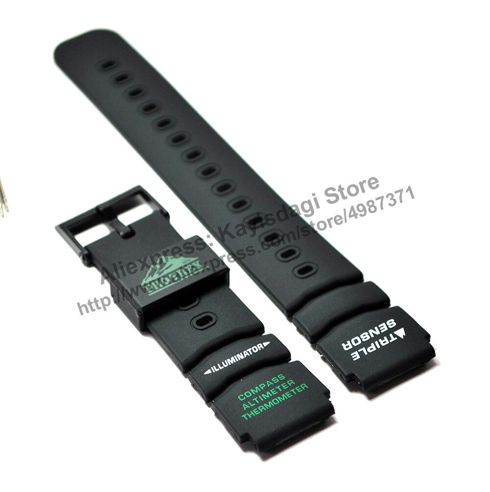 20 мм черный резиновый ремешок для часов/ремешок совместим с Casio Protrek ATC-1000, ATC-1100, ATC-1200, PRT-400, PRT-410, PRT-500