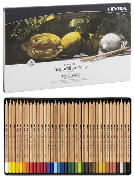 Conjunto de lápis coloridos aquarela artística lyra rembrandt aq