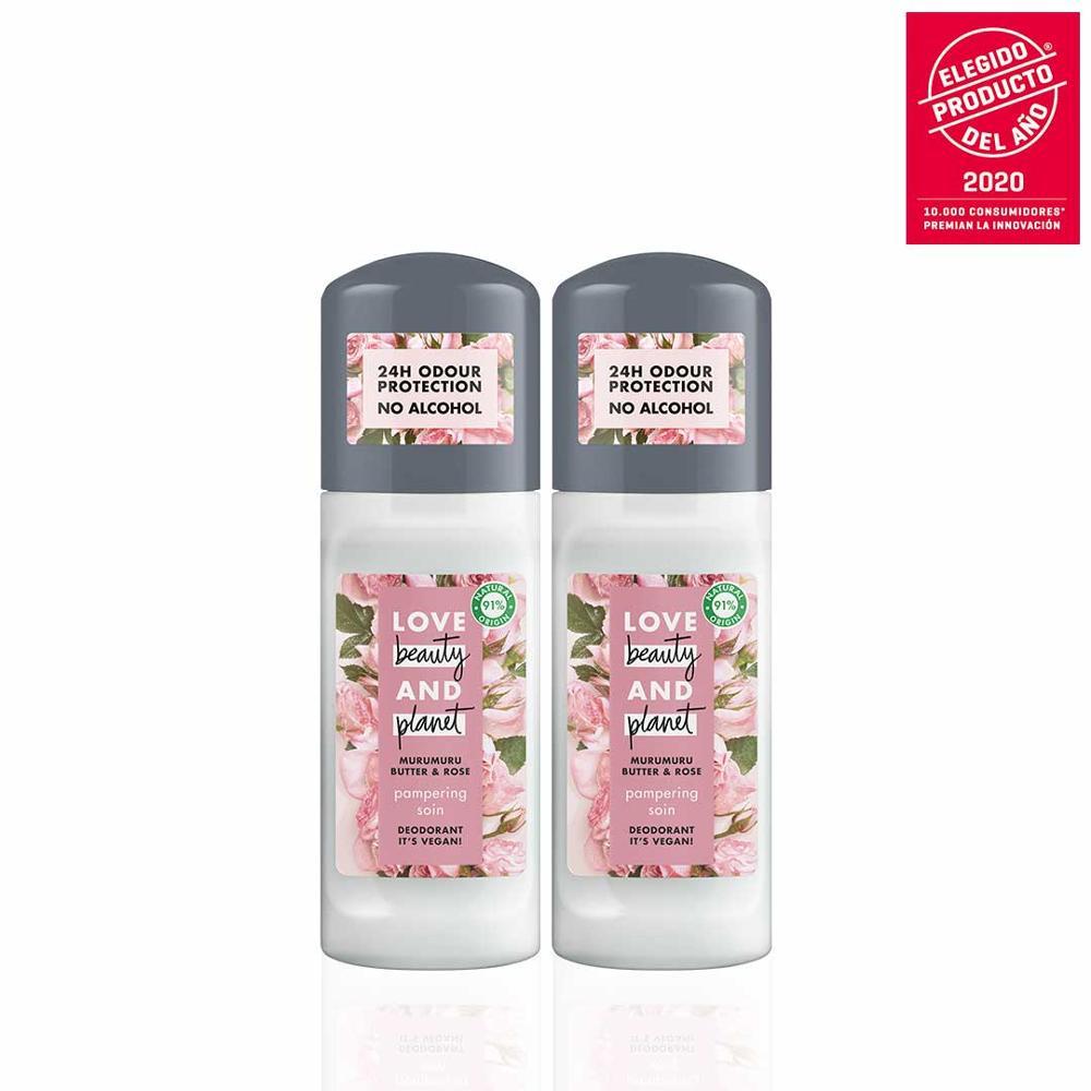 LOVE BEAUTY AND PLANET Set 2 Desodorantes Roll-on Vegano Refrescante de Manteca de Muru Muru y Rosa Envase 100% Reciclable
