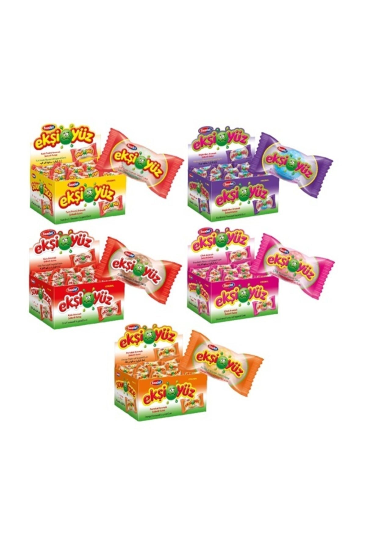 SAADET Ekşiyüz 5 Kinds of Chewing Gum 5 Pieces Cheap Box of 500 Pieces SHİPPİNG