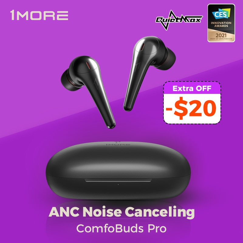 Review 1MORE Comfobuds Pro ANC Noise Cancelling Bluetooth 5.0 TWS Wireless Headphones QuietMax 13.4mm Bass Dynamic AAC Gaming Headset
