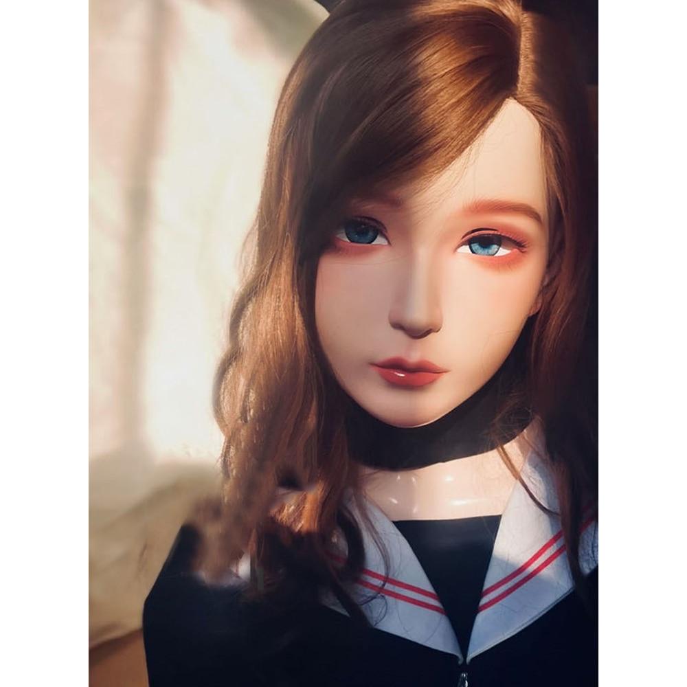 (CDFM-2) Kigurumi Crossdress Full Head Cosplay Japanese Role Play Anime Character Resin And Latex Rubber Doll Hood Mask