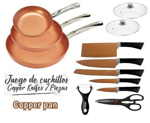 3's GAME PANS 2 caps KNIVES scissors COPPER COLOR COPPER PAN fit OVEN nonstick pans for kitchen fry PAN