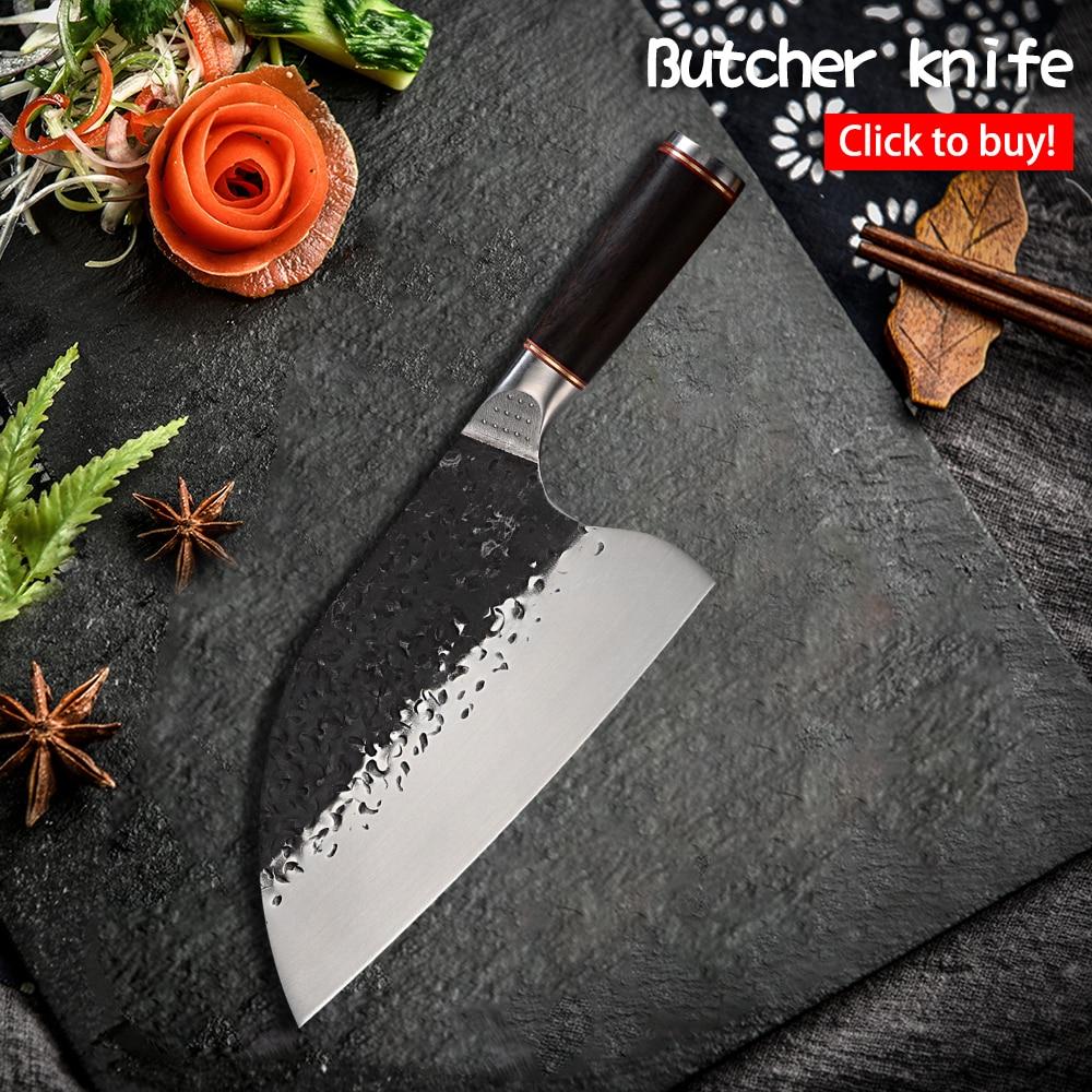 اليدوية مزورة سكين الجزار الساطور الصينية 5CR15 MOV الفولاذ المقاوم للصدأ التخييم الصربية تقطيع سكين خشب الأبنوس مقبض أداة