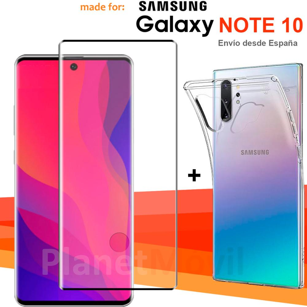 """Compatible con Samsung Note 10  6,3"""" pulgadas Funda + Protector vidrio pantalla Cristal Completo 3d full glue curvo huella"""