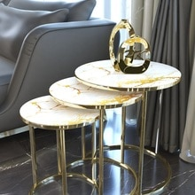 Round Unbreakable Glass coffee tables Marble Pattern table 3pcs Gold Metal Modern Homes Furniture for Living Room bedside Design