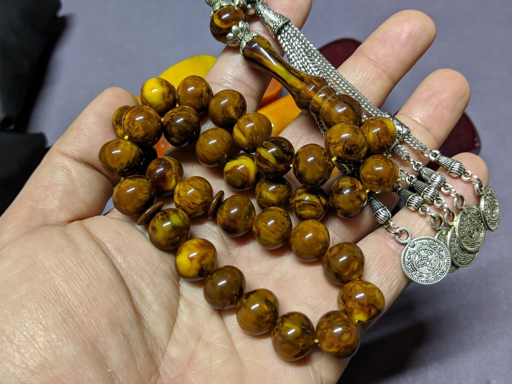 Ottoman Faturan German Amber Sandalous Misbaha Prayer Beads Islamic Gift Tasbih Tasbeeh Tasbeh Rosary Tasbih # 24B