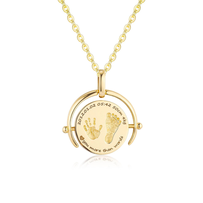 18K Gold Baby Custom Made Half-Ring Handprints Footprint Necklace
