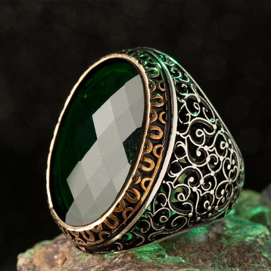 925 Sterling Silver Symmetrical Design Mens Ring with Green Zircon Stone Fashion Turkish Premium Quality Handmade Jawelery