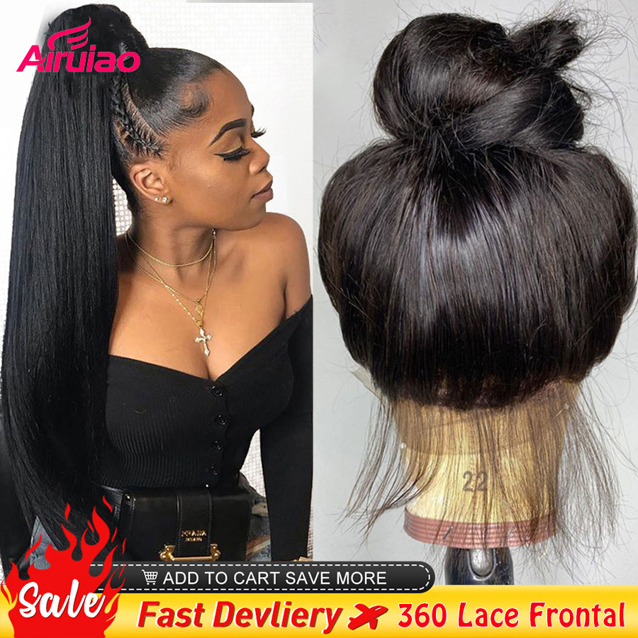 360 HD Transparent Lace Frontal Human Hair Wigs Bone Straight 13X6 Lace Front Wig Closure Pre Plucked Bleached Knots Full Women