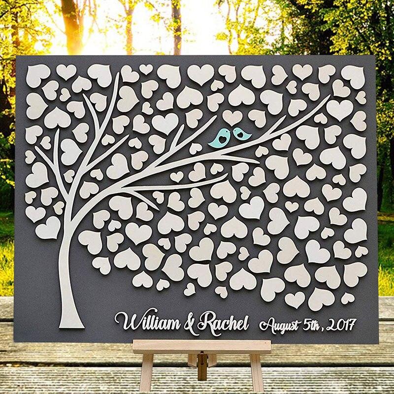 Personalizado 3D boda invitado libro alternativas árbol de corazones decoración de boda único libro de visitas de madera de árbol de la vida, regalo de boda