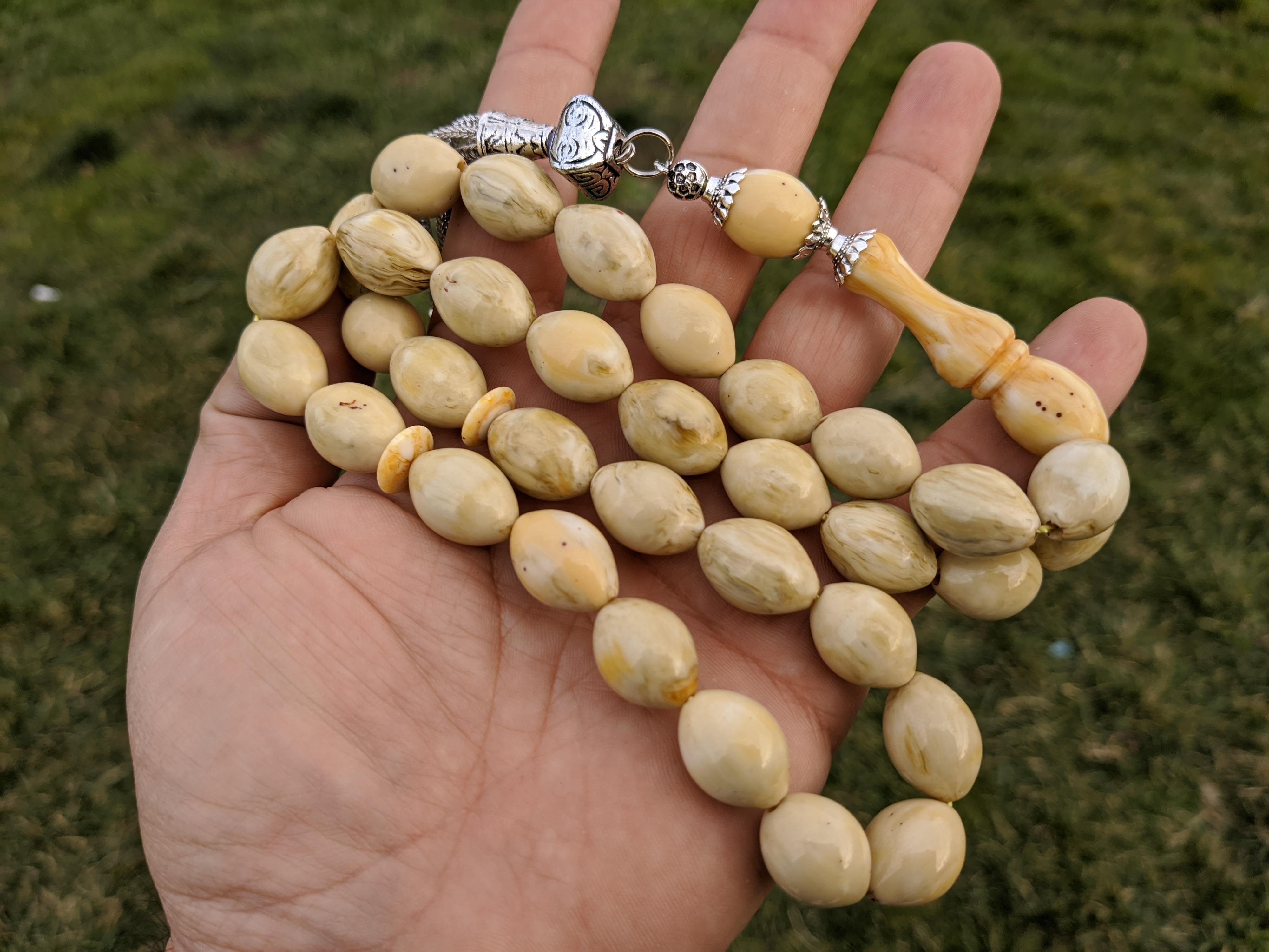 Ottoman Faturan German Amber Sandalous Misbaha Prayer Beads Islamic Gift Tasbih Tasbeeh Tasbeh Rosary Tasbih # 16C