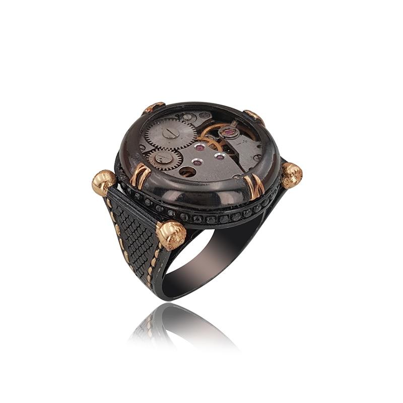 925 Silver Watch Movement Black Rhodium Ring for Men Mans Ring
