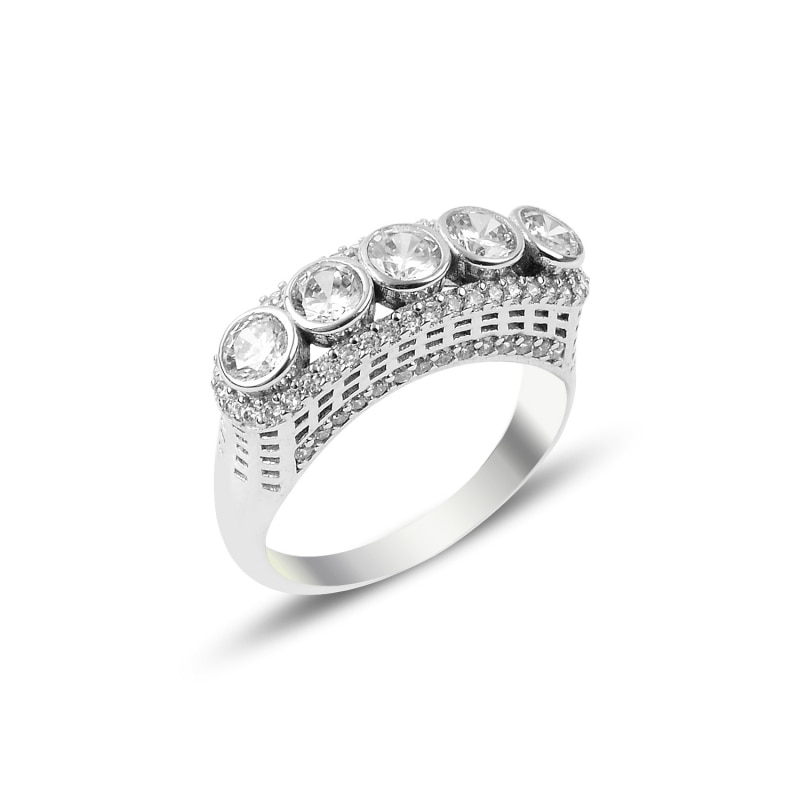 Silver 925 Sterling Zircon Cubic Zirconia Dibs Ring