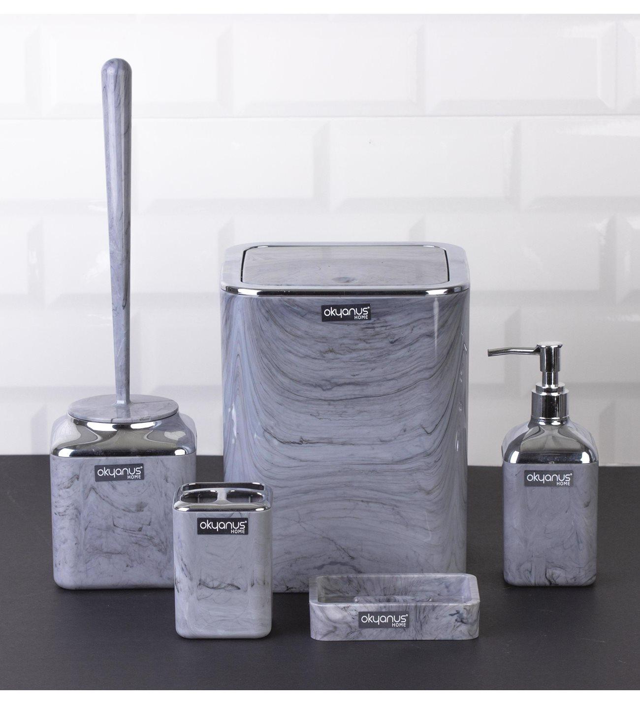 OceanLand Chrome Round-Square Marble Patterned Bathroom Set of 5 Hard Plastic Toothbrush Holder Soap Dispenser Toilet Brush enlarge