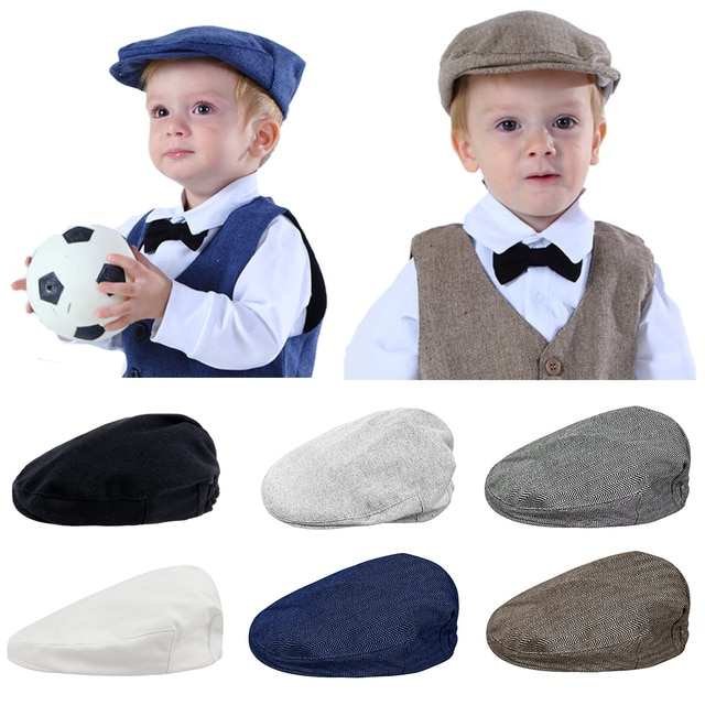 Baby Boys Hat Toddler Herringbone Flat Cap Kids Vintage Driver Hats Infant Cotton Soft Lining Accessories