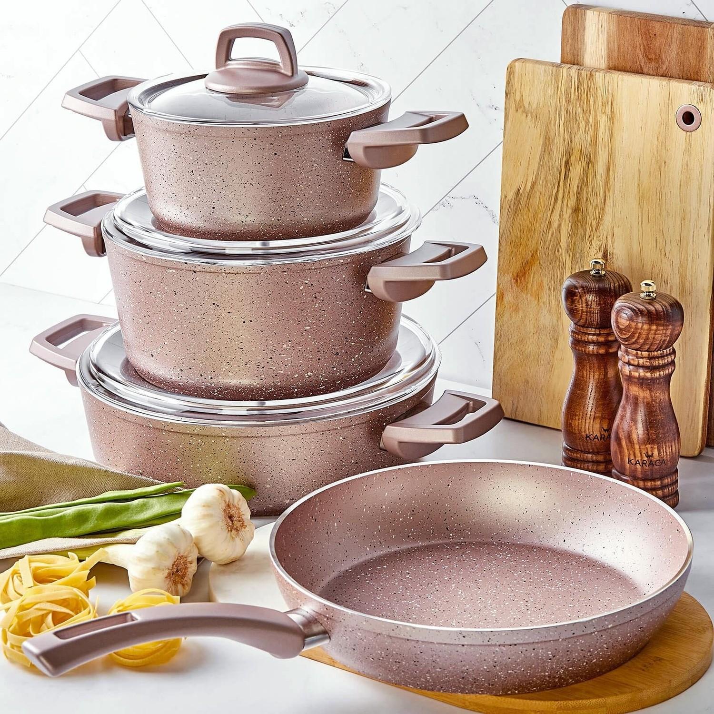 Kitchen Bio-Granite Cookware-Not Stick Cooking Set of 4 Pots