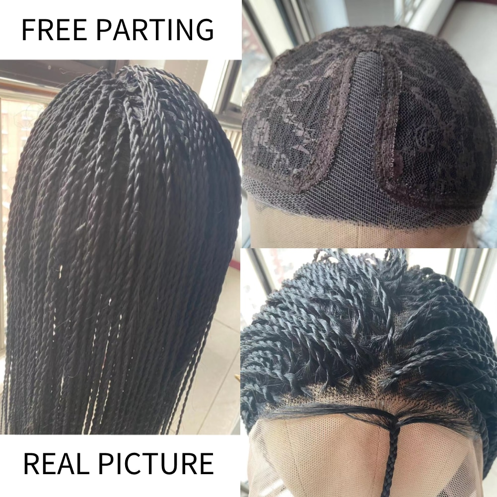 Bob Braided Wigs Lace Front Handmade Box Braids Straight Synthetic Hair Small 3X Long Braiding Hair Wigs with Baby Hair enlarge