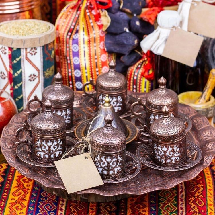 النحاس العثماني التركية العربية الشاي القهوة اسبرسو الكؤوس القدح مجموعة-6 قطعة الكؤوس الصلصات مع صينية ، السكر عاء صنع في تركيا هدية مربع