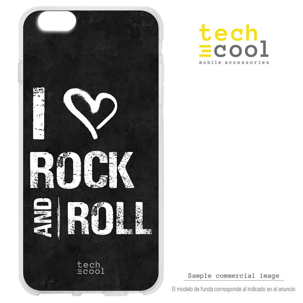 FunnyTech® Funda Silicona para Xiaomi Mi9 l I love Rock and roll fondo negro
