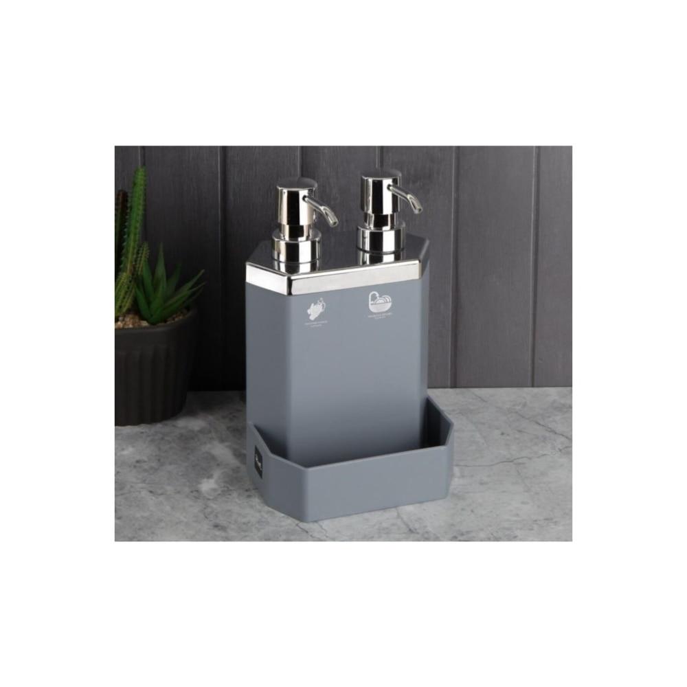 مزدوجة موزع الصابون السائل 600 مللي طبق الإسفنج حامل اكسسوارات المطبخ 5 ألوان غسل زجاجات إعادة الملء حمام الزخرفية