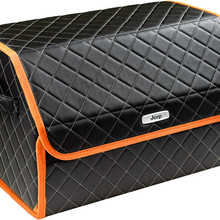 Organizer bag in the car trunk of eco-leather black with gray thread vicecar (orange edging) with Jeep logo