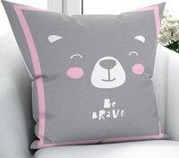 Else Gray White Pink Bears Animals Scandinav 3D Print Microfiber Throw Pillow Case Cushion Covers Square Hidden Zipper 45x45cm
