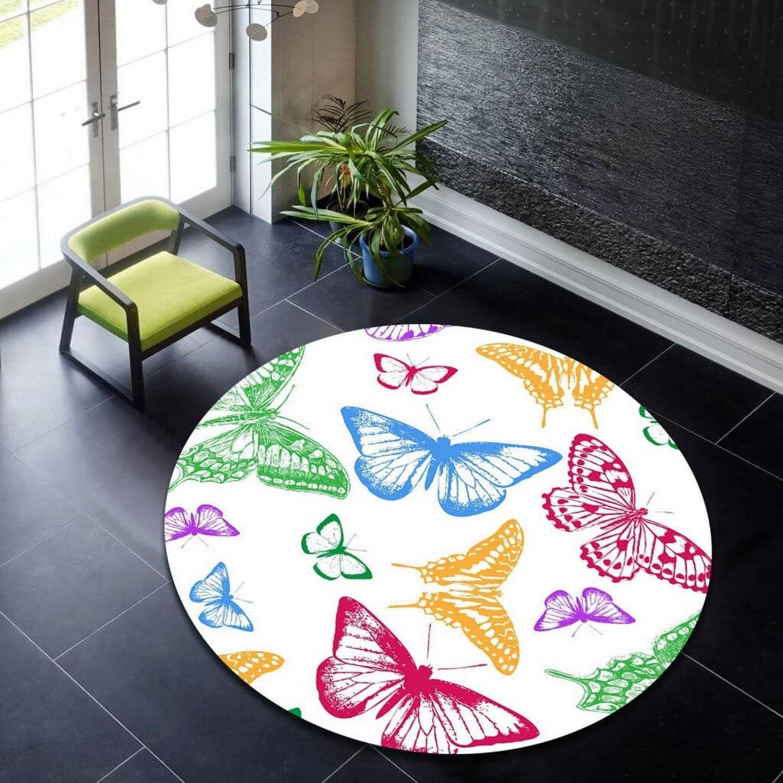 سجادة مستديرة على شكل فراشة ، سجادة مستديرة ملونة ، سجادة منطقة دائرة ، سجادة مستديرة حديثة ، سجادة شعبية ، سجادة تحت عنوان ، ديكور المنزل