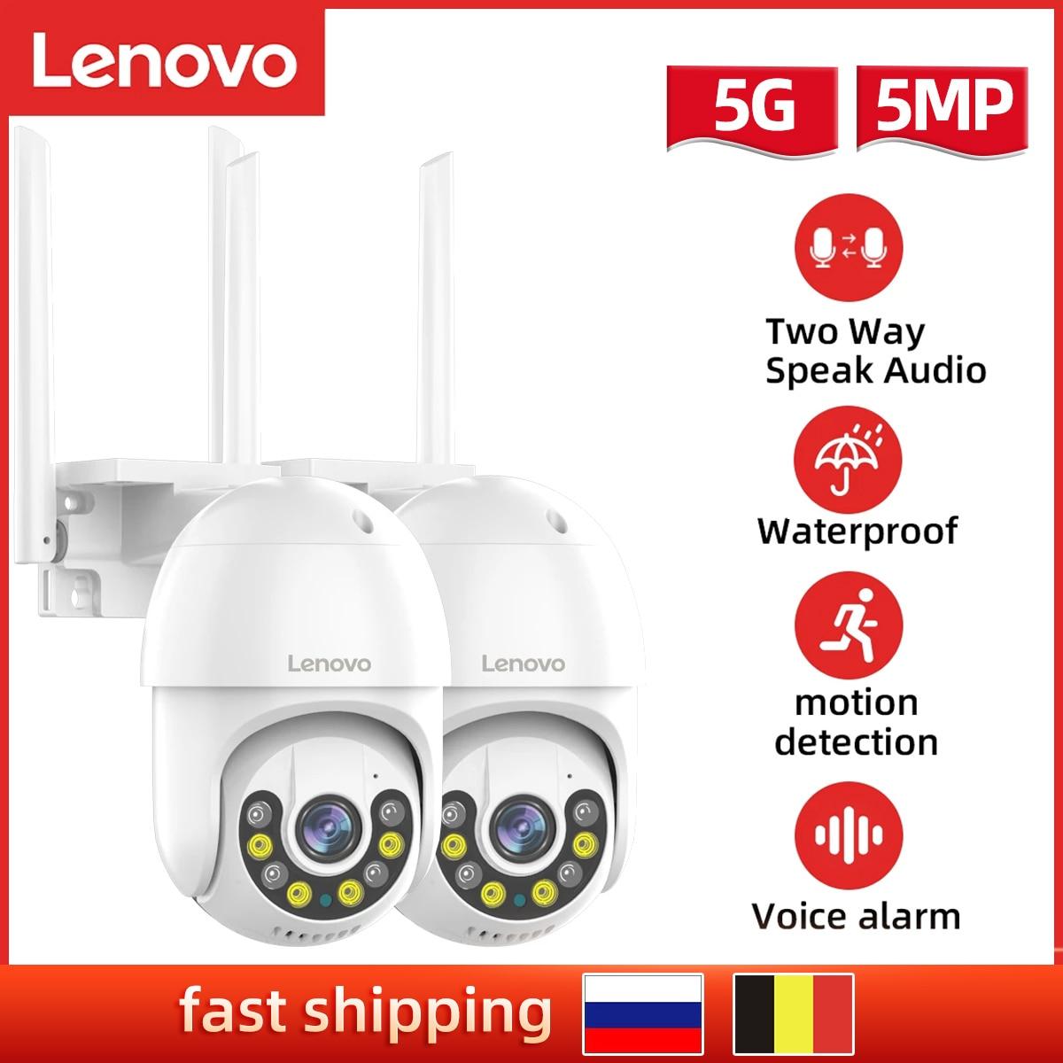 Lenovo 3MP/5MP PTZ Wifi IP Camera AI Security Camera Wireless  Audio Outdoor Waterproof IR Night Vision Video CCTV Surveillance
