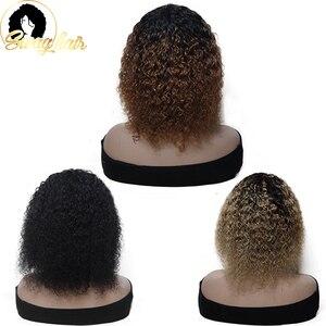 Кудрявые парики с челкой, бразильские человеческие волосы Remy, парик с эффектом омбре, короткий парик, цветные парики вырезанные челкой для чернокожих женщин