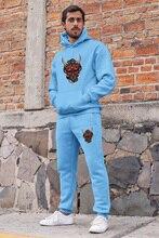 Vêtements Angemiel diable à cornes ensemble survêtement homme sweat à capuche bleu pantalon de survêtement bleu