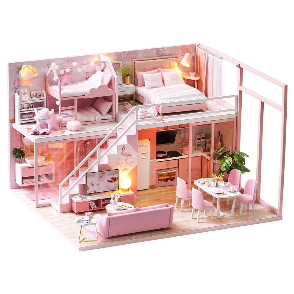 CUTEBEE DIY Dollhouse Kit Wooden Doll Houses Miniature Doll House Furniture Kit Casa Music Led Toys for Children Birthday Gift